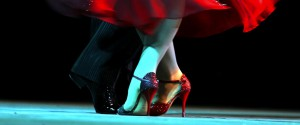 """Sarah Heyward and Matthew Civil,  of New Zealand, dance a tango during the semifinals of  """"Tango Escenario"""" (stage) category of  the IV Argentine Tango World Championship in Buenos Aires, Argentina, Thursday Aug.24 , 2006.  The categories that compete are: 'Tango Salon' (ballroom) and 'Tango Escenario' (stage). (AP Photo/Natacha Pisarenko)"""